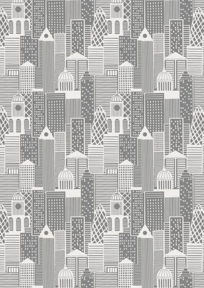 Lewis and Irene City Nights City Buildings Metallic Grey Fabric Bright Quilting