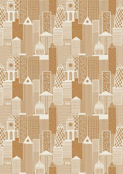 Lewis and Irene City Nights City Buildings Metallic Copper Fabric Bright Quilting