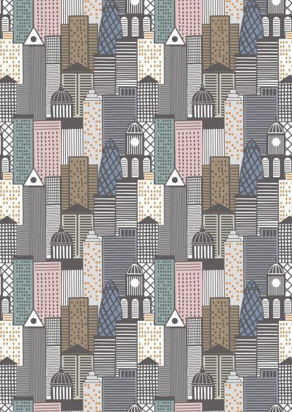 Lewis and Irene City Nights City Buildings Metallic Copper and multicolour Fabric Bright Quilting