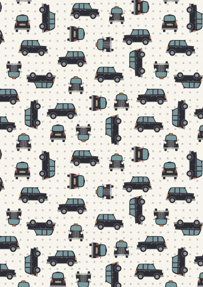 Lewis and Irene City Nights Black Taxis on White Fabric Bright Quilting