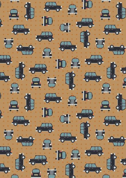 Lewis and Irene City Nights Black Taxis on Light Brown Fabric Bright Quilting