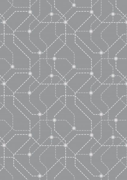 Lewis and Irene City Nights Underground Silver Fabric Bright Quilting
