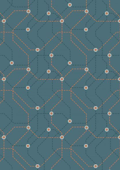 Lewis and Irene City Nights Underground Copper/Blue Fabric Bright Quilting