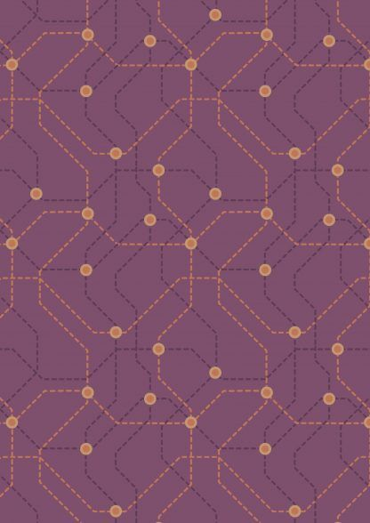 Lewis and Irene City Nights Underground Copper/Maroon Fabric Bright Quilting