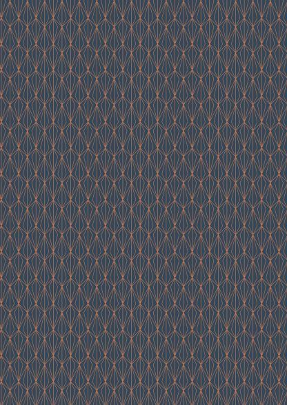 Lewis and Irene City Nights Architectural Blender Copper on Dark Blue Fabric Bright Quilting