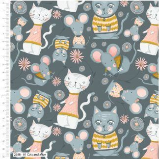 Craft Cotton Kitty Garden Cats and Mice on Grey/Blue fabric Bright Quilting