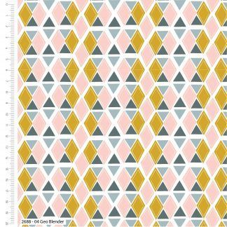 Craft Cotton Kitty Garden Geo Blender Grey/Blue, pink and yellow on white fabric Bright Quilting