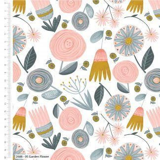 Craft Cotton Kitty Garden Grey/Blue, pink and yellow on white fabric Bright Quilting
