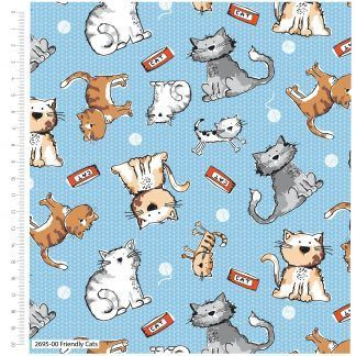 Craft Cotton Friendly Cats Multi coloured on a light blue background fabric. Bright Quilting