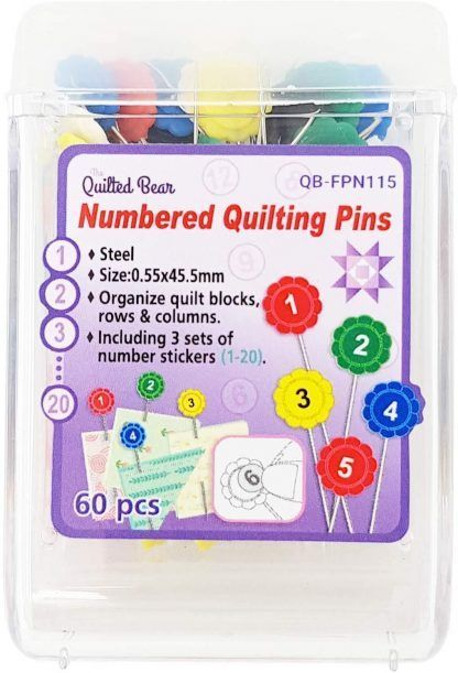 QB Flower head pins with number stickers Bright Quilting