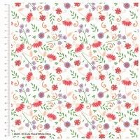 Craft Cotton Cute Florals Lilac fabric. Bright Quilting