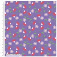 Craft Cotton Cute Florals Purple fabric. Bright Quilting