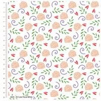 Craft Cotton Cute Florals White fabric. Bright Quilting