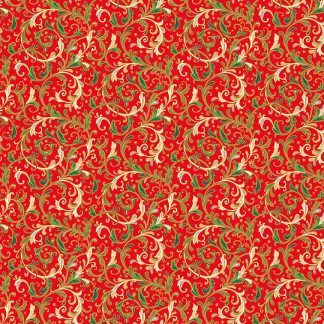Makower Classic Foliage Decorative Scrolls Green and Cream Scrolls on a Red background Bright Quilting