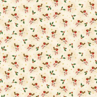 Makower Classic Foliage Robin Brown, Red and White Robins on a Cream background Bright Quilting