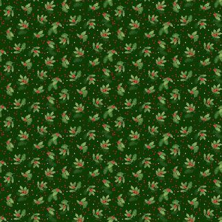 Makower Classic Foliage Holly Spray Green Holly and Red Berries on a Dark Green background Bright Quilting