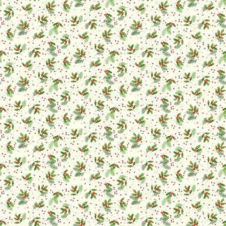 Makower Classic Foliage Holly Spray Green Holly and Red Berries on a Cream background Bright Quilting