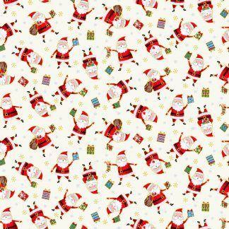 Makower Santa Express Santa's Cream background with Santa carrying colourful presents Bright Quilting