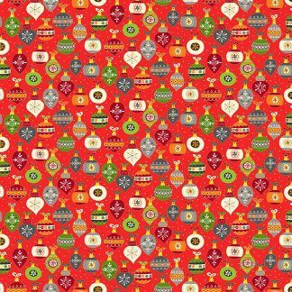 Makower Santa Express Baubles Red background with colourful baubles Bright Quilting