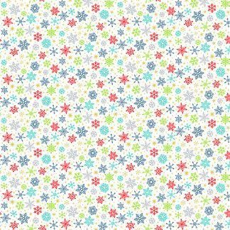 Makower Santa Express Snowflakes White background with colourful snowflakes Bright Quilting