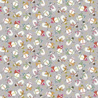 Makower Santa Express Snowmen Grey background with colourful snowmen Bright Quilting