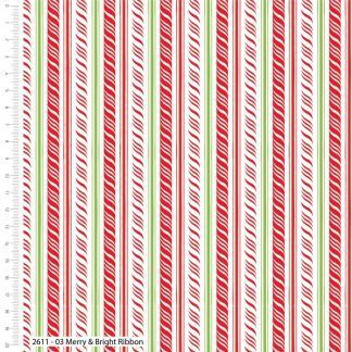 Craft Cotton Merry and Bright Ribbon in Green Red and White Bright Quilting