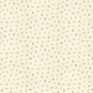 Makower Tranquillity Sprig Cream Background with Blue Flowers Bright Quilting