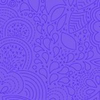 Alison Glass 2020 Sunprint Range Stitched Peacock, drawn designs on purple, Bright Quilting
