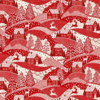 Makower 2021 Scandi Christmas Fabric Cream Background with Red Hill Scene with Gold Metallic Snowflakes Bright Quilting