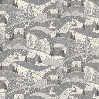 Makower 2021 Scandi Christmas Fabric Cream Background with Silver Grey Hill Scene with Gold Metallic Snowflakes Bright Quilting