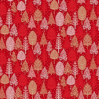 Makower 2021 Scandi Christmas Fabric Red Background with White, Red and Gold Metallic Trees Bright Quilting