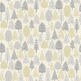 Makower 2021 Scandi Christmas Fabric Cream Background with Grey, Silver and Gold Metallic Trees Bright Quilting