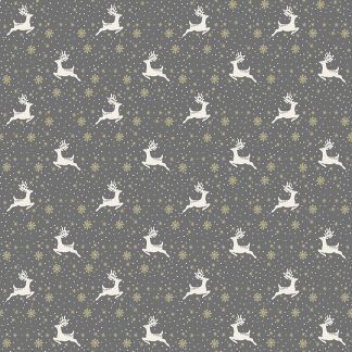 Makower 2021 Scandi Christmas Fabric Grey Background with White Reindeer and Gold Metallic Snowflakes Bright Quilting