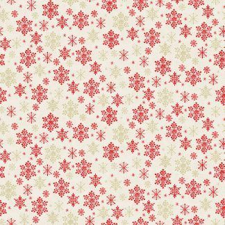 Makower 2021 Scandi Christmas Fabric Cream Background with Red and Gold Metallic Snowflakes Bright Quilting