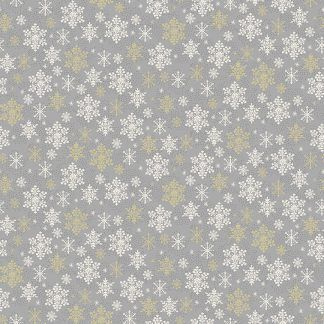 Makower 2021 Scandi Christmas Fabric Grey Background with White and Gold Metallic Snowflakes Bright Quilting