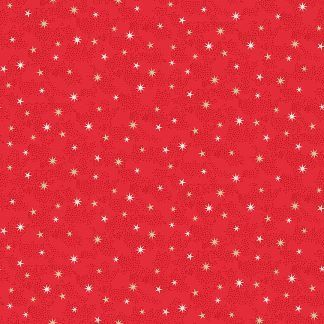 Makower 2021 Scandi Christmas Fabric Red Background with White and Gold Metallic Stars Bright Quilting