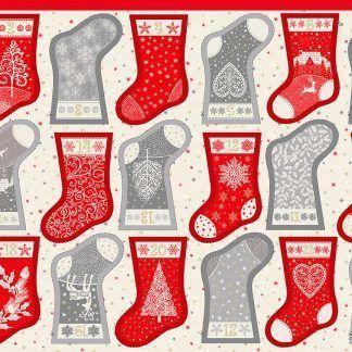 Makower 2021 Scandi Christmas Fabric Panel Mini Stockings Advent Calendar Cream, Grey Red and Metallic Gold Bright Quilting