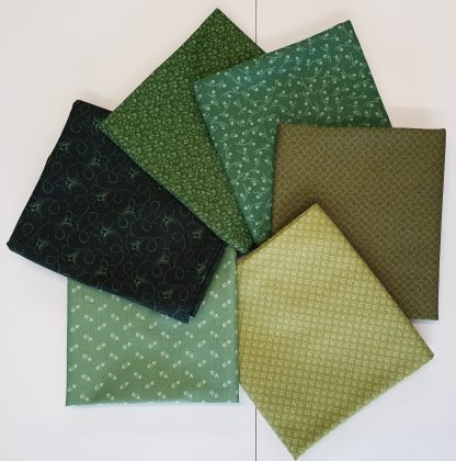 Andover Ditzy Tonal Forest Fabric Fat Quarter Bundle. Six different fabrics in shades of Green Bright Quilting