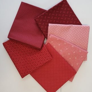 Andover Ditzy Tonal Rouge Fabric Fat Quarter Bundle. Six different fabrics in shades of Red and Pink Bright Quilting