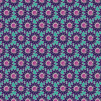 Makower Henna Sunflower Lilac/Turquoise Bright Quilting